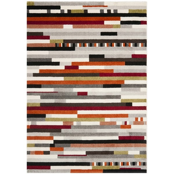 Safavieh Porcello Abstract Stripes Ivory/ Multi Area Rug - 8' x 11