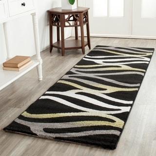 Safavieh Porcello Contemporary Wave Black/ Gold Runner Rug (2'4 x 6'7)