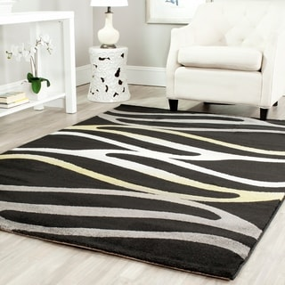 Safavieh Porcello Contemporary Wave Black Area Rug (4' x 5' 7)