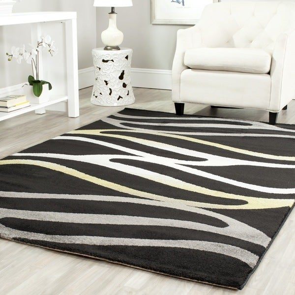 Safavieh Porcello Contemporary Wave Black/ Gold Area Rug - 4' x 5'7