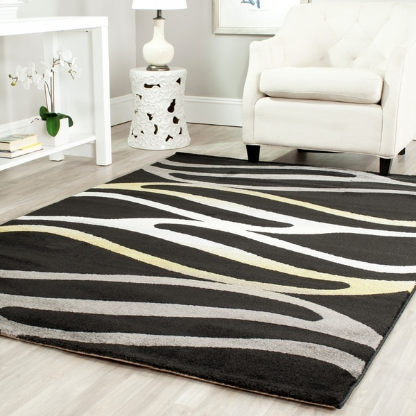 "Safavieh Porcello Contemporary Wave Black/ Gold Area Rug - 4' x 5'7"""