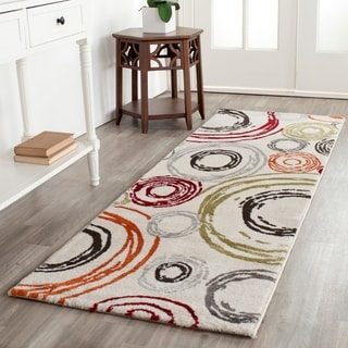 Safavieh Porcello Contemporary Circles Ivory/ Red Runner Rug (2'4 x 6'7)