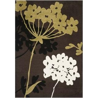 Safavieh Porcello Contemporary Floral Brown/ Green Rug (5'3 x 7'7)