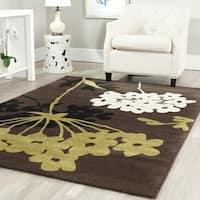 """Safavieh Porcello Contemporary Floral Brown/ Green Area Rug - 6'7"""" x 9'6"""""""