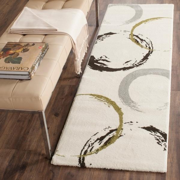 "Safavieh Porcello Contemporary Circles Ivory/ Green Runner Rug - 2'4"" x 6'7"""