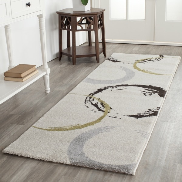 Safavieh Porcello Contemporary Circles Ivory/ Green Runner Rug (2'4 x 6'7)