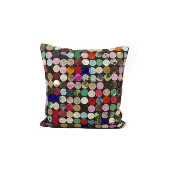 Mina Victory Natural Leather and Hide Mini Circles Multicolor Throw Pillow (20-inch x 20-inch) by Nourison