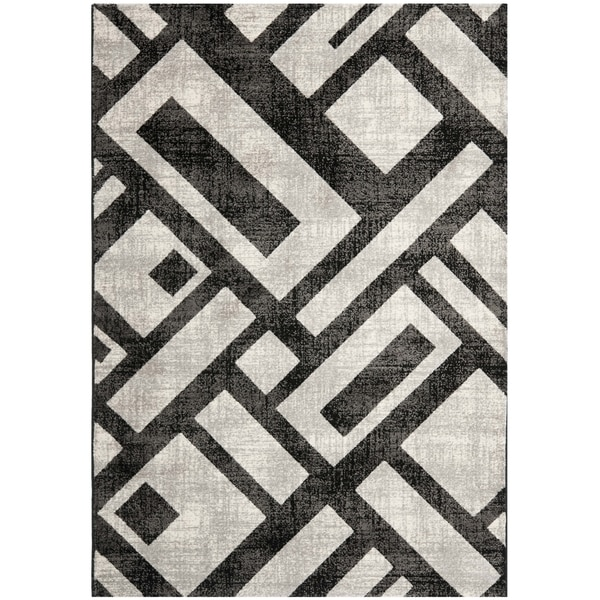 Safavieh Porcello Modern Geometric Black/ Grey Rug - 8' x 11'2