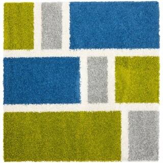 Safavieh Deco Squares Blue Shag Rug (5' Square)