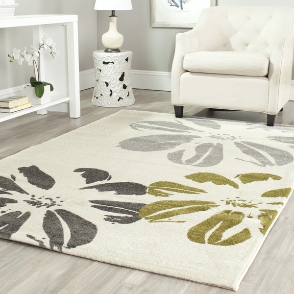 Safavieh Porcello Contemporary Floral Ivory/ Grey Rug (6'7 x 9'6)