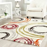 Safavieh Porcello Contemporary Circles Ivory/ Red Rug - 4' x 5'7""