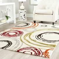 Safavieh Porcello Contemporary Circles Ivory/ Red Rug - 6'7 x 9'6