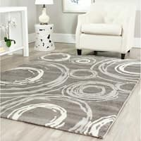 Safavieh Porcello Contemporary Circles Dark Grey/ Ivory Rug - 4' x 5'7""