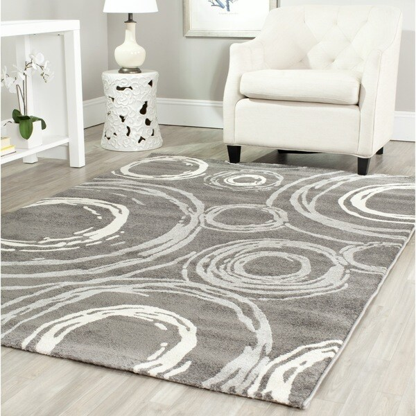 Safavieh Porcello Contemporary Circles Grey Rug (4' x 5' 7)
