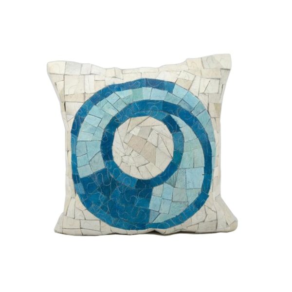Mina Victory Natural Leather and Hide Mosaic White/Turquoise Throw Pillow (20-inch x 20-inch) by Nourison