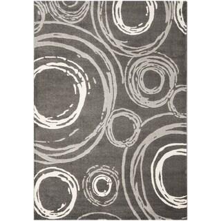 Safavieh Porcello Contemporary Circles Dark Grey/ Ivory Rug (8' x 11'2)