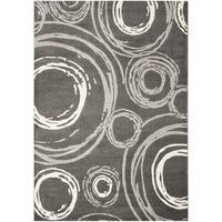 Safavieh Porcello Contemporary Circles Dark Grey/ Ivory Rug - 8' x 11'2