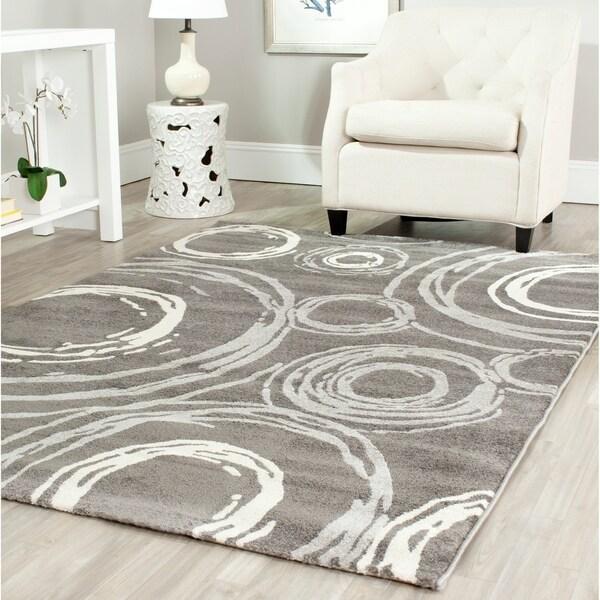 "Safavieh Porcello Contemporary Circles Dark Grey/ Ivory Rug - 8' x 11'2"""