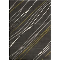 Safavieh Porcello Abstract Stripe Dark Grey/ Multi Rug - 4' x 5'7