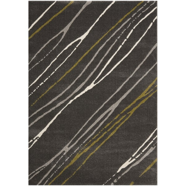 Safavieh Porcello Contemporary Stripe Dark Grey Rug (4' x 5' 7)