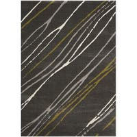 "Safavieh Porcello Abstract Stripe Dark Grey/ Multi Rug - 6'7"" x 9'6"""
