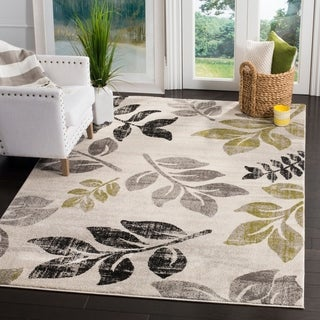 Safavieh Porcello Leaf Print Distressed Ivory/ Gold Rug (6'7 x 9'6)