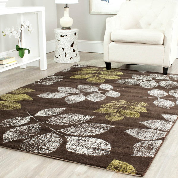 Safavieh Porcello Leaf Print Distressed Brown/ Green Rug - 8' x 11'2