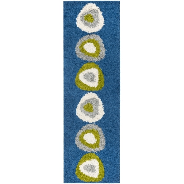 Safavieh Mid-Century Shag Blue/ Green Runner (2'3 x 7')