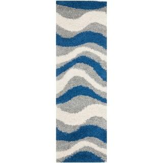 Safavieh Deco Shag Blue/ Grey Waves Runner (2' 3 x 7')