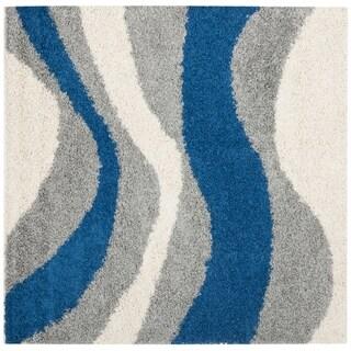 Safavieh Deco Waves Blue Shag Rug (5' Square)