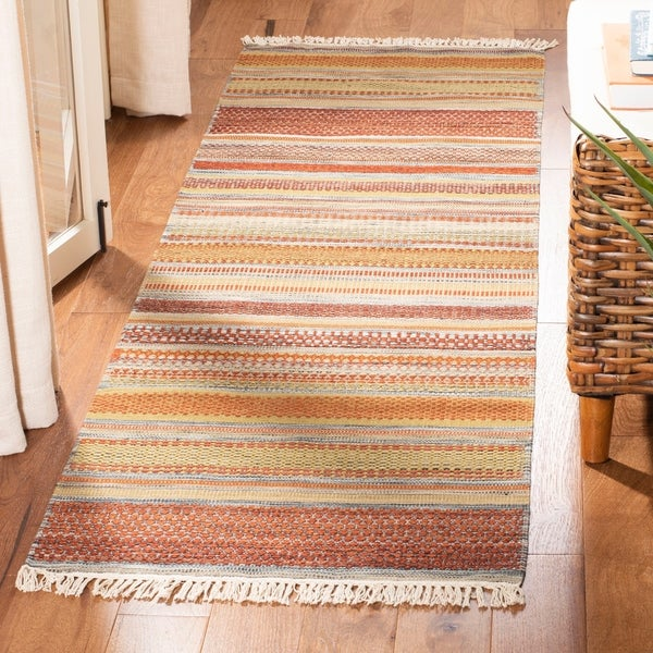 Safavieh Tapestry Woven Striped Kilim Village Beige Wool Rug 2 3 X 8 Runner On Free Shipping Today 7655524