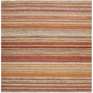 Safavieh Tapestry-woven Striped Kilim Village Beige Wool Rug (7' Square)