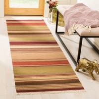 Safavieh Tapestry-woven Striped Kilim Village Red Wool Rug - 2'3 x 8'