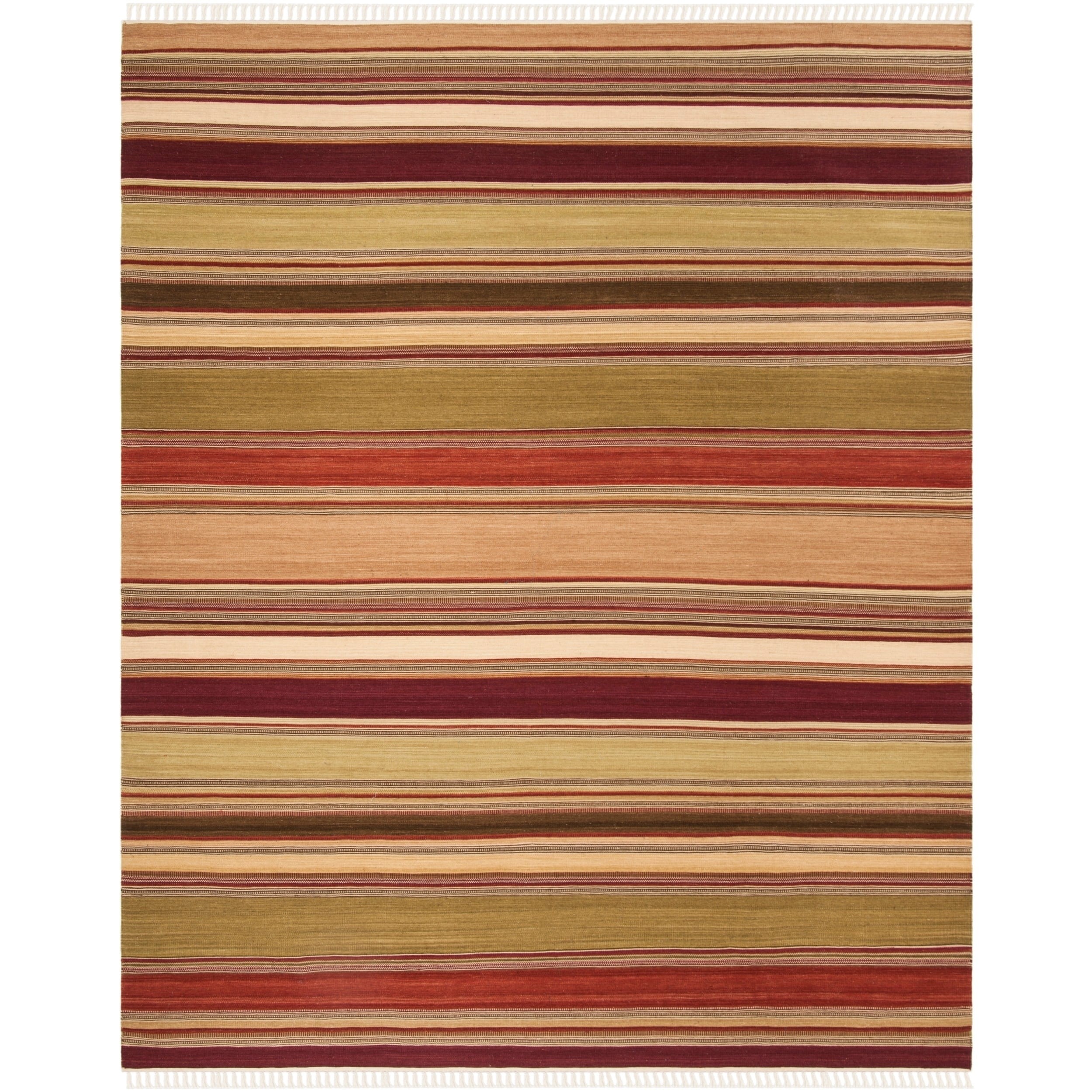 Safavieh Tapestry-woven Striped Kilim Village Red Wool Ru...