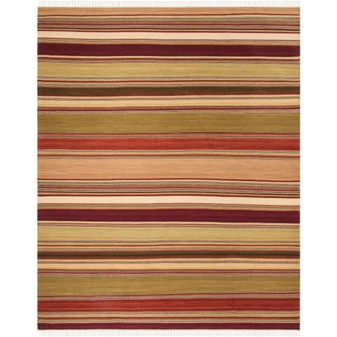 Safavieh Tapestry-woven Striped Kilim Village Red Wool Rug - 8' x 10'