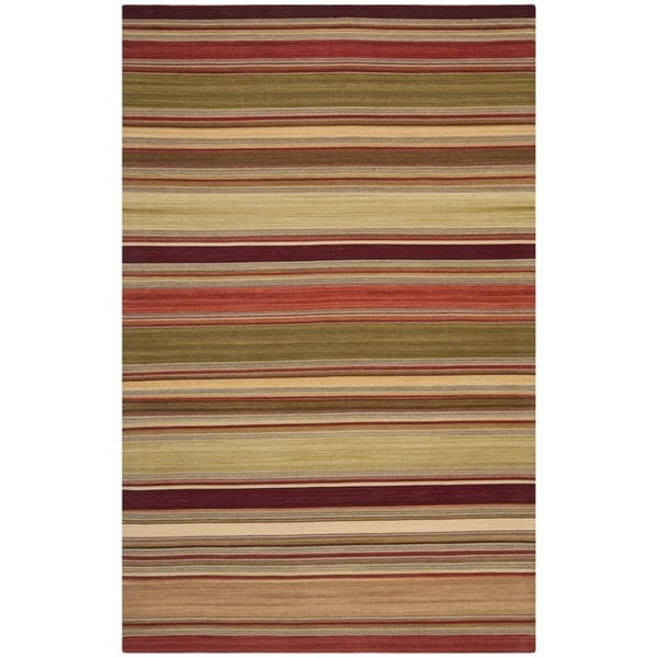 Safavieh Tapestry Woven Striped Kilim Village Red Wool Rug