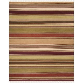 Safavieh Tapestry-woven Striped Kilim Village Red Wool Rug (9' x 12')