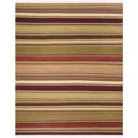 Safavieh Tapestry-woven Striped Kilim Village Red Wool Rug - 9' x 12'