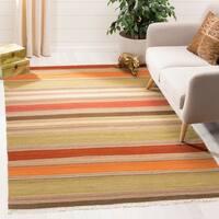 Safavieh Tapestry-woven Striped Kilim Village Green Wool Rug - 4' x 6'