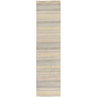 Safavieh Hand-knotted Tibetan Stripes Silver Wool Rug (2' x 8')