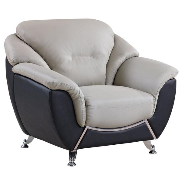 U6018 Grey/ Black Bonded Leather