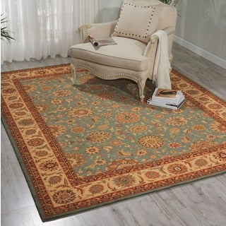 Living Treasures Aqua Blue Wool Rug (5'6 x 8'3)