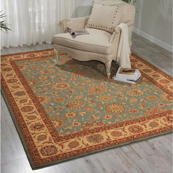 Living Treasures Aqua Blue Wool Rug - 7'6 x 9'6