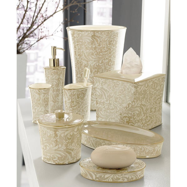 Trump Home Bedminster Creme Brulee Scroll Bath Accessory Collection