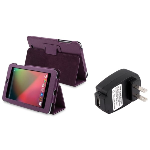 BasAcc Leather Case with Stand/ Travel Charger for Google Nexus 7