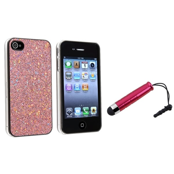 INSTEN Light Pink Bling Phone Case Cover/ Mini Red Stylus for Apple iPhone 4/ 4S
