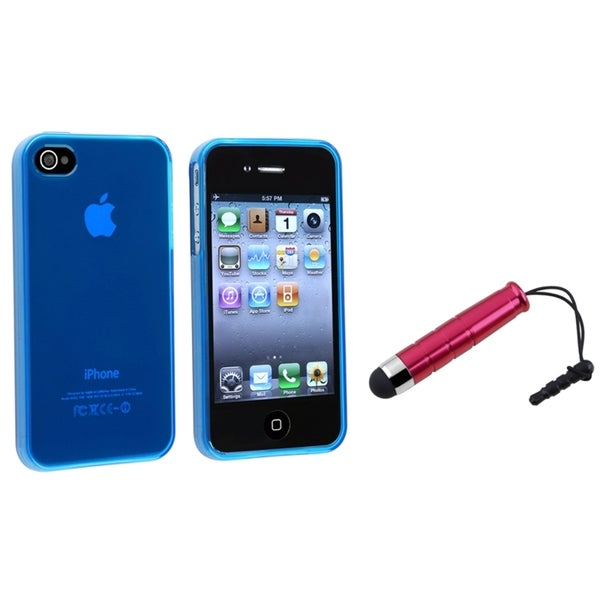 INSTEN Frost Blue TPU Phone Case Cover/ Mini Red Stylus for Apple iPhone 4/ 4S
