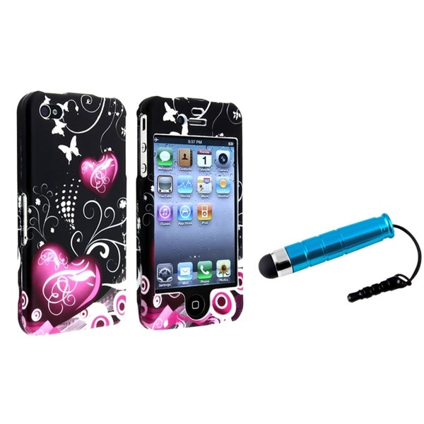 INSTEN Heart/ Butterfly Phone Case Cover/ Blue Mini Stylus for Apple iPhone 4/ 4S