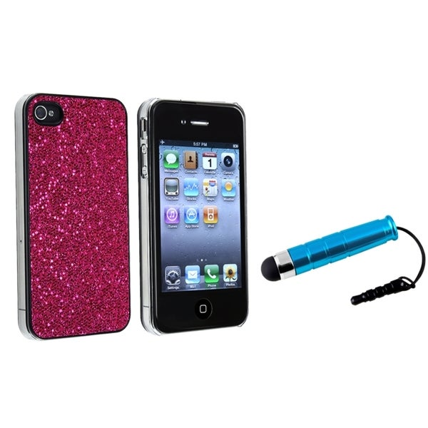 BasAcc Hot Pink Bling Case/ Mini Blue Stylus for Apple iPhone 4/ 4S