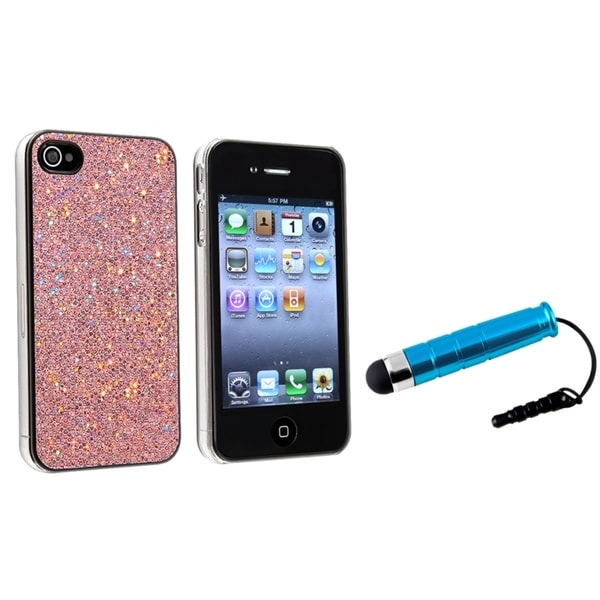 INSTEN Light Pink Bling Phone Case Cover/ Mini Blue Stylus for Apple iPhone 4/ 4S
